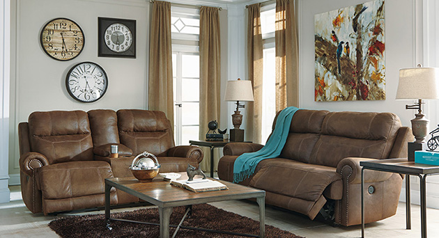Austere Brown 2 Seat Reclining Sofa and Loveseat